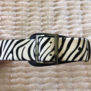 NEW Black and white zebra striped leather belt